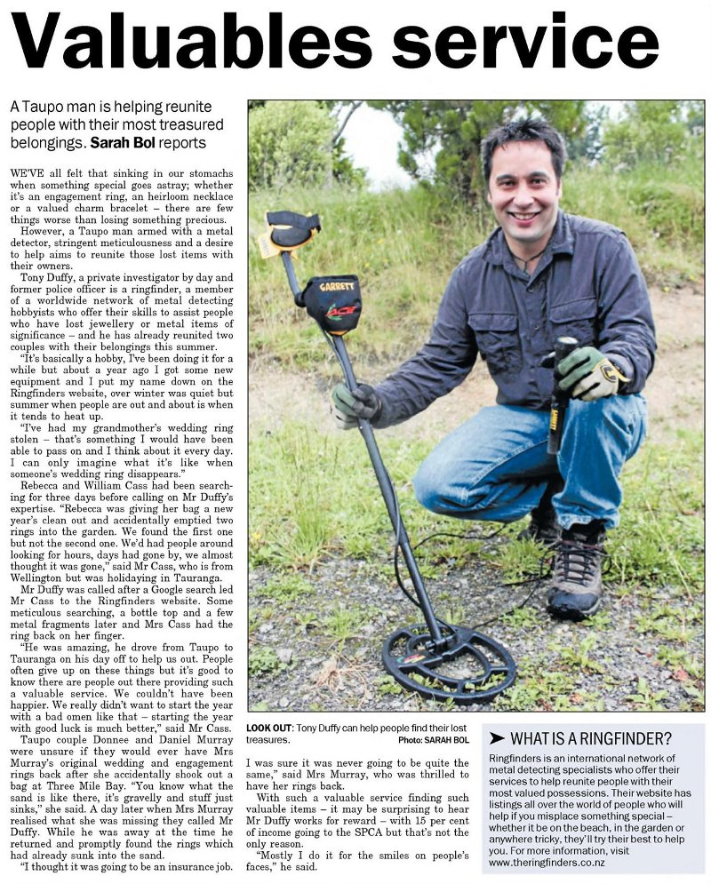 Tony Duffy in the Taupo Times